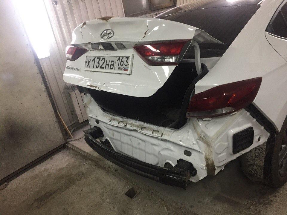 Хендай Элантра/Hyundai Elantra - Ремонт задней части авто - до